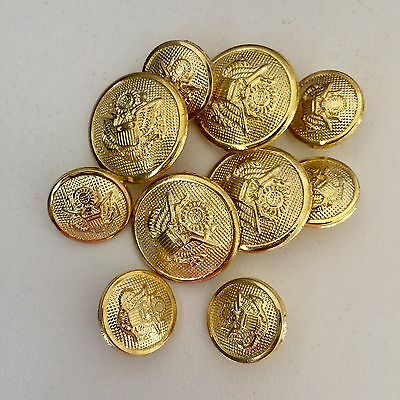 Equestrian Buttons Set Gold Metal Crest Showing Dressage