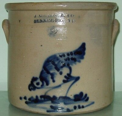 J. Norton Pecking Chicken 2 Gallon Stoneware Crock Jug Bennington VT Vermont