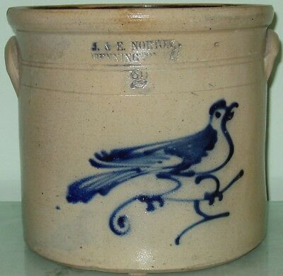 J&E Norton Bird on Branch Stoneware Crock Jug Bennington VT Vermont