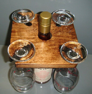 Hand Crafted Wood Wine Bottle Top Wine Glass Holder Rack Caddy