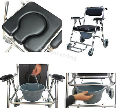 FDA Mobile Aluminum Commode Chair Wheels swing away footrest Wheelchair Toilet