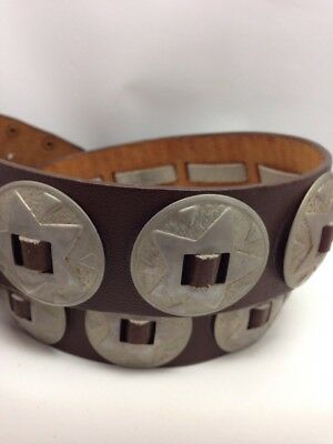 Vintage Brown Leather Concho Star Laced Belt Size 42 Western Mexico