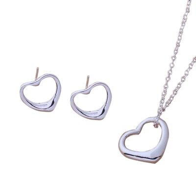 Fashion Women Solid Silver Bangle/Necklace/Earring/ Bracelet /Ring Jewelry Set