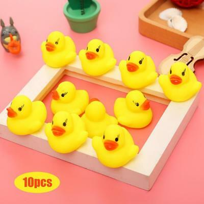 10Pcs Yellow Bathtime Rubber Duck Ducks Bath Toy Squeaky Water Play Kids ToddleC