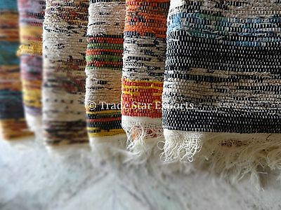 Hand Loomed Rag Rug Vintage Tapestry Fabric Large Area Rug Runner 4X6 Throw Mats