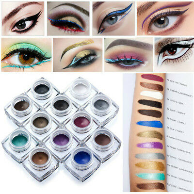 12 Colors Gel Eyeliner Creamy Waterproof Eye Shadow  2 in 1 Makeup Cosmetics