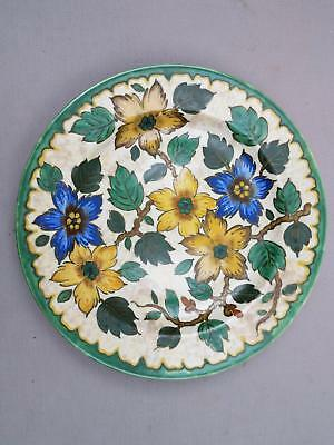 """VTG 12"""" Gouda Pottery 2965 Holland Wall Plate Charger Yellow Blue Flowers *READ*"""