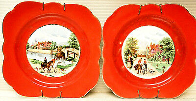 VTG PAIR PLATES EQUESTRIAN RIDING by CROWN VICTORIA CZECHOSLOVAKIA (1919-1945s)
