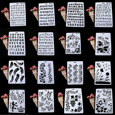Hot 20 Patterns Letter Number Layering Stencils Painting Scrapbooking Paper Card
