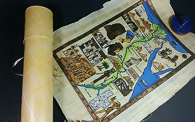"Egyptian Papyrus Hand Painted Signed Map Egypt w/ Tube Ancient Art 13.5""x10"""
