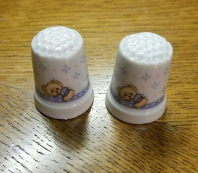 NEW x2 Collectible Porcelain White Blue Baby Ceramic Thimbles Teddy Bear Nursery