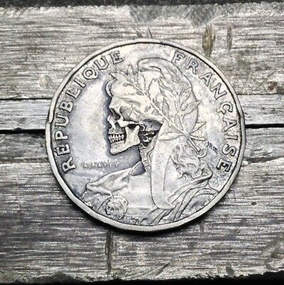 #130 1904 French 25 Centimes Hobo Skull Hand Carved By JAM