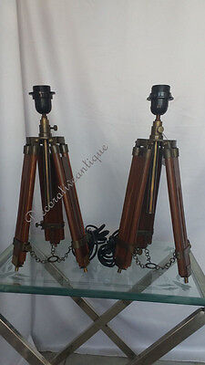 Pair Of Antique Reproduction Brown Wooden Table Lamp Stand Vintage Decor