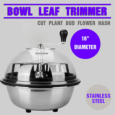 "Stainless Manual Bud Leaf Trimmer 16"" Clear Top Bowl Leaf Plant Cutter"