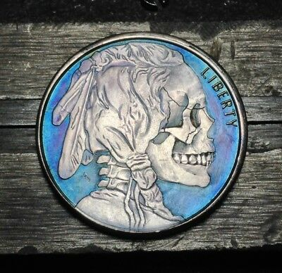 #131 1/2 Oz Toned Silver Hobo Nickel Style Skull Coin Hand Carved By JAM