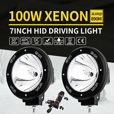 Pair 7inch 100W HID Driving Light Xenon Spotligt Offroad UTE Work Lamp Black 12V