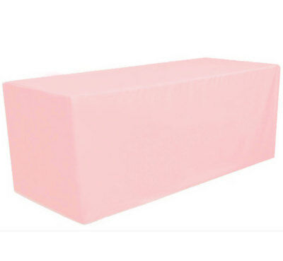 6' ft. Fitted Polyester Tablecloth Table Cover Wedding Banquet Party Pink