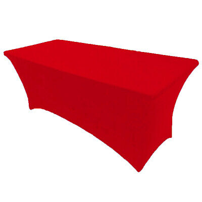 6' ft. Spandex Fitted Stretch Tablecloth Table Cover Wedding Banquet Red