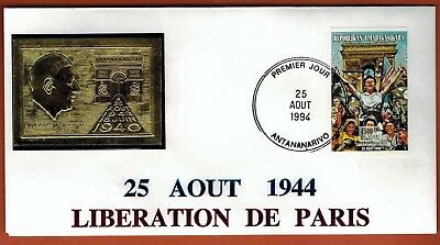 1994 - Madagascar - Fdc - Charles De Gaulle - Libération - Timbre Or (Gold)