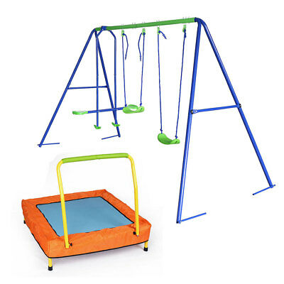 3 in 1 Kids Garden Seesaw Double Swing Set with Collapsible Portable Trampoline