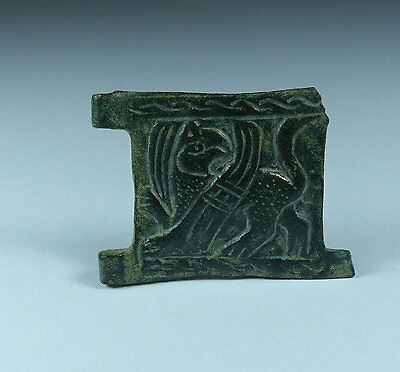 Lovely Byzantine Zoomorphic Bronze Buckle Plate Circa 6Th/7Th Century Ad