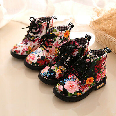 Fashion Kids Boys Girls Floral Ankle Boots Toddler Zipper Lace Up Shoes Size