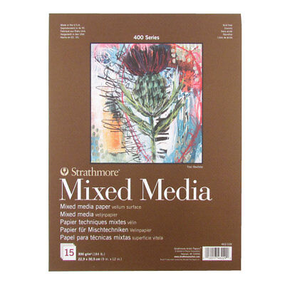 """Strathmore Series 400 Mixed Media Pad 9""""x12"""" 300gsm. Artist Mixed Media Paper"""