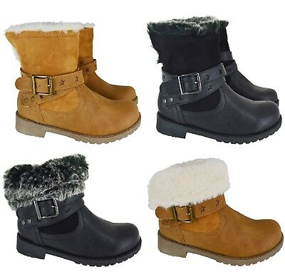 Kids Girls Wainter Warm Winter Ankle Faux Fur Lined School Shoes Boots Size 9-2