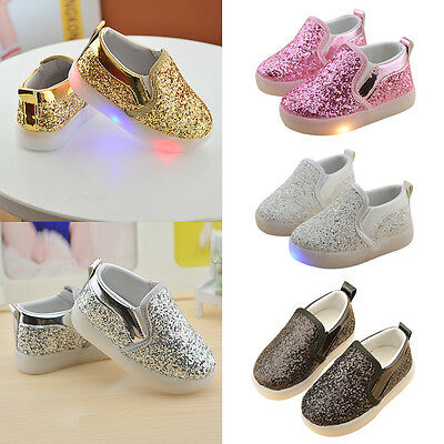 New Girls Kids Children Party Glitter Pumps Plimsolls Shoes Trainer Boot Size