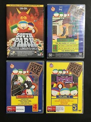 South Park D.v.d Lot Of 4 The Movie & Volumes 4, 10, & 11