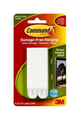 3M Command 17206 damage free hanging picture hanging strips 4 sets large NEW