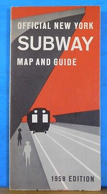 Map Official New York Subway Map and Guide 1958 Edition 16x20