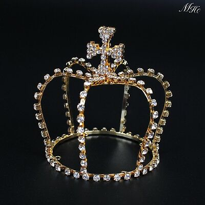 Small Cross Crown Gold Mini Tiara Rhinestone Pageant Prom Party Costumes AU-Ship