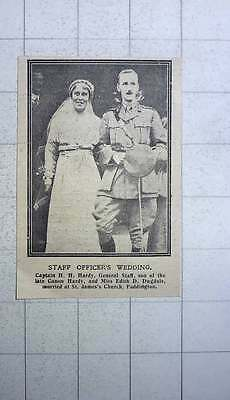 1917 Capt Hh Hardy General Staff Marries Miss Edith Dugdale