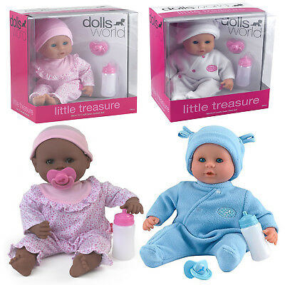 38cm Dolls World Little Treasure Baby Doll with Bottle & Dummy Removable Clothes