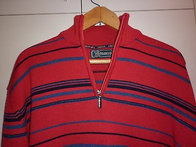 Vintage  Large Mens Italian Zip Neck Jumper Excellent Condition
