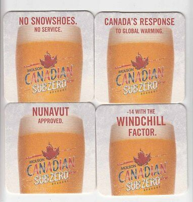 4 diff Molson Brewery beer coasters Canada Canadian Sub Zero Snowshoes