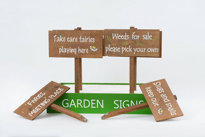 NEW Garden Stakes Signs Fairies Flowers Wooden Funny Shabby Plaques Decoration