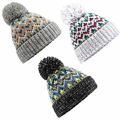 Beechfield Blizzard Bobble Beanie Bauble Pom Pom Winter Hat Knit Ladies Gents