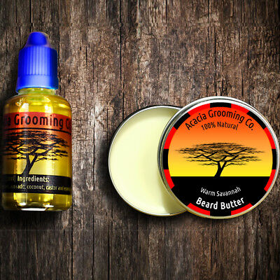 Acacia Grooming Co. | Beard Oil + Soft Butter Balm | Kit Set Organic Natural