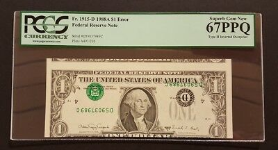 (TYPE II INVERTED OVERPRINT w BOOKENDS) $1 Error Note PCGS 67PPQ Superb Gem New