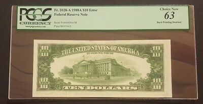(BACK PRINTING DOUBLED) 1988A $10 Error Note, PCGS 63 Choice New