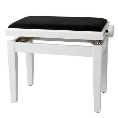 GEWA Adjustable Piano Bench Deluxe - White High Gloss, Black Cover