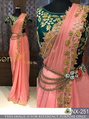 Ethnic Bollywood traditional designer wedding Party Fancy saree sari TS US 1