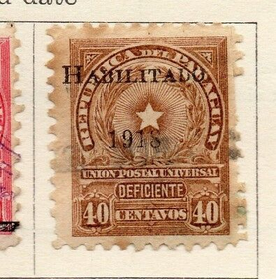 Paraguay 1918 Early Issue Fine Used 40c. Optd 191050