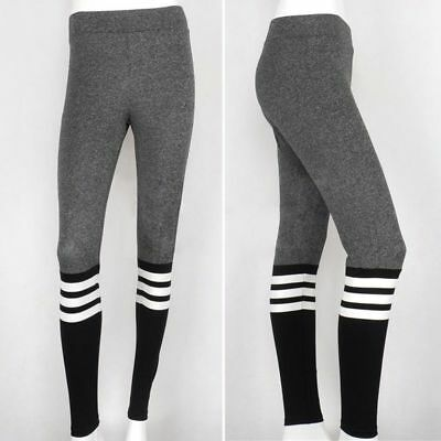 Womens Yoga Fitness Leggings Running Gym Stretch Sports Trousers Grey/Black J018