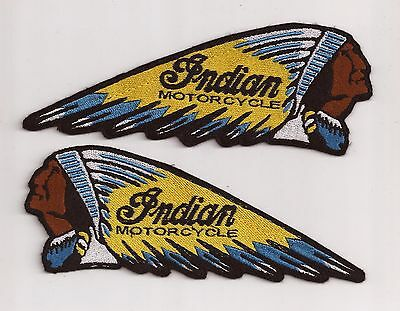 Set Of 2 Indian Motorcycle Chief Embroidery Sew On Patch Yellow / Blue