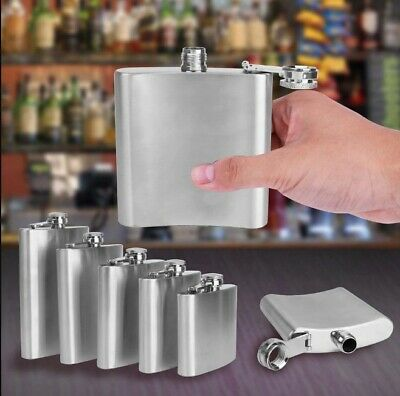 5,6,7 & 8oz Hip Flask Stainless Steel Flasks-Gold /Blue/ Purple/Silver Colou