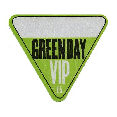 Green Day authentic 2005 American Idiot Tour Backstage Pass VIP version 1 green