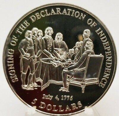 2000 Liberia 5 Dollars Signing of Declaration of Independence